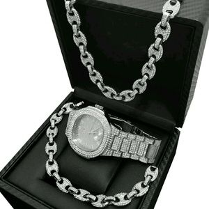 Other - HIP HOP WHITE GOLD PT LUXURY WATCH & FULL ICED GUC